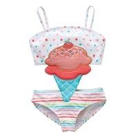 eiscreme passt großhandel-ew 2019 cute ice cream Kinderbadebekleidung Einteiliger Mädchen Badeanzug Kinder Badeanzüge Mädchen Bikini Kinder Badeanzüge Kinder Sets Beachwear A4369
