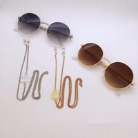 cuerdas de anteojos al por mayor-2 unids de lujo CC diseñador de gafas de decoración Correa de cadena de metal con cordón antideslizante cordón cuerda cuerda cuello retén de cuerda