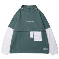 hoodies nouveau style coréen achat en gros de-Hommes Hip Hop Sweat Pull 2019 Harajuku À Capuche Streetwear Coton Couleur Bloc Patchwork Style Coréen Sweat Shirt Automne Nouveau