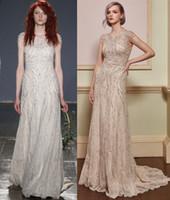 nueva línea de lentejuelas de lujo vestidos de novia al por mayor-Nuevos y lujosos listones de lentejuelas una línea de vestidos de novia francés encaje hecho Cap mangas bohemio vestidos de novia