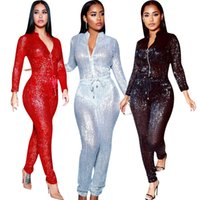 c478cf48c845 Plus Size Sexy Sequined Spliced Jumpsuit Women Front Zip Long Sleeve Party Romper  2019 Waist Lace Up Shiny Long Overall