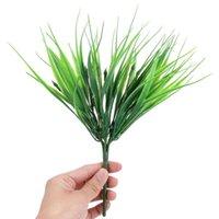 ingrosso negozi di fiori artificiali-10 Pz / lotto 7 Forcella Artificiale Piante Verdi Di Plastica Erba Fresca per Decorazione di Nozze Negozio di Casa Decorazione Fiori Pianta Finta