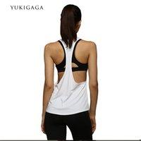 vêtements à rayures blanches achat en gros de-Nouveau Yoga Tops Femmes Sexy Gym Sportswear Gilet Fitness femme serré vêtements Chemise De Course Sans Manches À Séchage Rapide Blanc Yoga Débardeur
