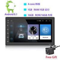 mp4 плеер для android оптовых-7 дюймов двойной DIN 12V автомобильный DVD Android 8.1 аудио и видео плеер HD емкостный сенсорный экран 1080P видео GPS 1GB RAM WIFI 4G зеркало ссылка