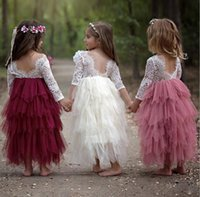 ingrosso clothing wedding dress-Summer Princess Backless Hollow Lace Bambini Tutu Flower Girl Dresses per la festa nuziale Europa e America Abbigliamento per bambini