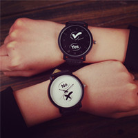 Wholesale couple watches korea resale online - Watch Girl Student Korean Version Brief South Korea Yes No Original Home Style Old Man Text Control Couples Watch Tide A40