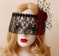 demi couronne achat en gros de-Dentelle Mesh Masque Couronne Rouge Rose Noir Sexy Masque De Mascarade En Dentelle pour Carnaval Halloween Mascarade Demi Visage Balle Partie Masques