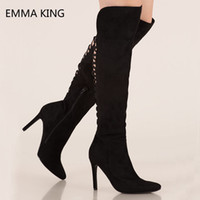 Wholesale overknee boots thigh high for sale - Group buy Black Strappy Back Thigh High Boots Women Thin Sexy Heels Ladies Shoes Pointed Toe Zip Overknee Long Boots Suede Booties