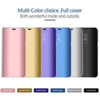 çevirme davaları çevir toptan satış-Clear View Ayna Kılıf Samsung Galaxy Samsung S8 S9 Artı S6 S7 Kenar Not 8 Not 9 Deri Flip case