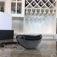 bolsa de couro de bezerro preto venda por atacado-2019 Hot Vendedor Designer de Cristal AW Saco de Cintura das Mulheres Negras 26 cm Bezerro de Couro Genuíno Mini Sacos 08023