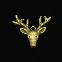 6pcs Antler Skull charms silver tone Deers Heads With Antlers Pendants 55x38mm