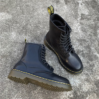 Wholesale full grain leather safety shoes resale online - Ankle Boots For Women Top Quality Dr Genuine Leather Women Botas High Top Motorcycle Autumn Winter Lover Snow Shoes Martens shoes