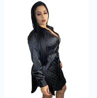 ingrosso le camicette casuali della camicetta delle signore-progettazione di marca donne sexy di modo tasto lettera stampa del vestito della camicia risvolto lungo collo signora del manicotto i mini vestiti da autunno Party Dress camicetta casual