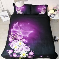 conjuntos de cama roxa em tamanho completo venda por atacado-Purple Butterfly cama Full Size Definir rosa edredão Flor Tampa Galaxy Colcha Rei 3pc Pillowshams NO Quilt NO Consolador