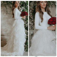 Wholesale couture backless wedding dresses for sale - Group buy Romantic Jewel Neck White Couture Wedding Dresses Tiered Skirt Low Back Long Sleeve Wedding Gowns With Sweep Train Modern Wedding Dresses
