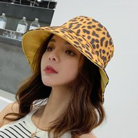 Wholesale vintage bucket hats women resale online - New fashion casual temperament high quality cap women girls leopard comfortable cute vintage personality dual use bucket hat