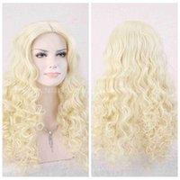 licht blonde lockige perücke cosplay großhandel-Hot Curly Wave Frauen Lange Perücken Hitzebeständige Haar Hellblonde Perücke Cosplay