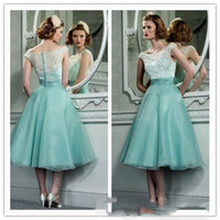 Wholesale green tea mints resale online - Mint Green Organza Lace Retro Short Prom Dress s Vintage Hepburn Style Tea Length Party Dresses With Bateau Neck Cap Sleeves Cocktail