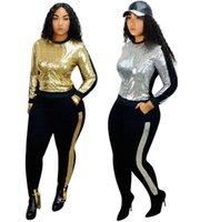 Wholesale sequin dresses for sale - Group buy Plus size XL Women Sequins outfits pieces set tracksuit pullover top pants casual stripe sweatsuits outdoor clothing jogging suit