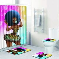 pinturas da arte abstracta indiano venda por atacado-Saia Sexy Menina Banheiro Cortina Tecido À Prova D 'Água Africano Mulheres Cortina de Chuveiro e tapete conjunto para Decoração Do Banheiro