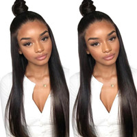 Wholesale white black straight wig online - 24inch Lace Front Human Hair Straight Wigs Brazilian Virgin Pre Plucked Hairline Lace Wigs With Baby Hair For Black White Women