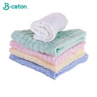 ingrosso asciugamani da bagno per bambini-1 Pz Bagnetto Asciugamano in cotone Asciugamano per il viso Asciugamano in panno Burp naturale Morbido e assorbente Garza a 6 strati Quadrato Sicuro Sicuro per la pelle 30x30cm