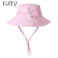 Wholesale baby wide brim hat resale online - Children Sun Hat For Baby Summer Hat Kids Outdoor Sunscreen Protection Wide Brim Adjustable Toddler Cap Swimming Beach Hats