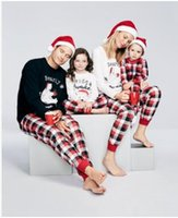 Autumn Warm Fall Winter Xmas letter printed plaid snowman christmas Family  Kids Women Men Adult sleepwear Pajamas Set Striped Pyjamas 269 d62a0aaf7