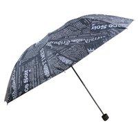 kinder schwarze regenschirme großhandel-Weinlese-Zeitungs-Regenschirm-Regen-sonniger Frauen-Bleistift-Minikinderregenschirm 3 faltender beständiger Sonnenschirm-regnerischer Frauen-Regenschirm