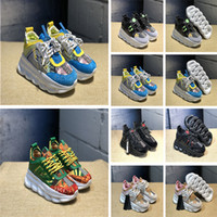 chaussures de course uniques achat en gros de-Versace Réaction de la chaîne Hommes Femmes Créatrice De Mode Baskets Médusa Baskets Légère Lien-En Relief Unique Sport Chaussures De Course Taille 36-45