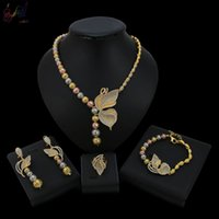 Wholesale high set engagement rings for sale - Group buy Yulaili Three Color Flower Crystal High Quality Necklace Bracelet Earrings Ring Wedding Jewelry Set For Women