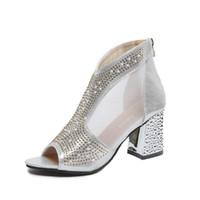 calcanhares sexy venda por atacado-Moda Deslizamento Em Mulheres Bling Bombas Plataforma Sapatos De Salto Alto Senhora Peep Toe Quadrado Zip Heel Sapatos de Vestido Sexy Nupcial Do Casamento