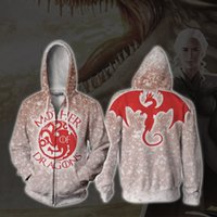 erwachsene baumwoll-sweatshirts großhandel-Film Daenerys Targaryen Dragon Queen Cosplay Kostüme Kinder Erwachsene Baumwolle Sweatshirt Hoodies Jacke Mantel Top Neu