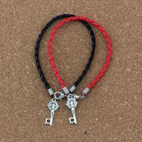 cruz pulseira vermelha venda por atacado-50 unidades / lotes pulseira de couro Antigo de prata Saint Benedict Medalha Cross Key Pingentes Encantos Religiosos Pulseira (preto vermelho) B-351