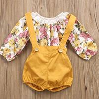 barboteuses de boutique achat en gros de-Ins Infant Girls Rompers Shorts T-shirt Enfant en Dentelle Floral à Manches Longues + Short Ordinaire 2 Pièces Onesies Enfants Bébé Boutique Tenues A41703