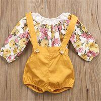 mamelucos florales niños al por mayor-Ins Infant Girls Rompers Shorts Toddler Lace Floral de manga larga T Shirt + Shorts ordinarios 2 unidades Onesies Kids Baby Boutique trajes A41703