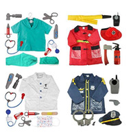 Wholesale police set toys resale online - Cosplay Job Worker Costume Set Kids Occupational Engineering Role Fireman Doctor Nurse Vet Police Dress up Cosplay Props Toys Ages Year