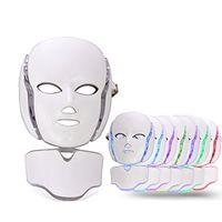 beauté visage led luminothérapie achat en gros de-Masque facial de cou de cou de la machine LED de beauté de visage de thérapie de couleur de PDT 7 avec Microcurrent pour le dispositif de blanchiment de peau