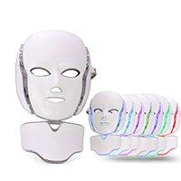 führte maske gesichtsbehandlungen großhandel-PDT 7 Color LED Lichttherapie Gesicht Beauty Machine LED Gesichtsmaske mit Microcurrent für Hautaufheller