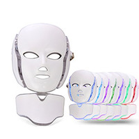 Wholesale facial microcurrent devices resale online - PDT Color LED light Therapy face Beauty Machine LED Facial Neck Mask With Microcurrent for skin whitening device