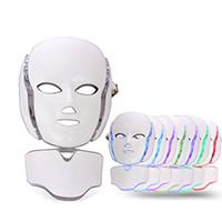 mikrocurrent maschinen licht großhandel-PDT 7 Farbe LED-Licht-Therapie Gesicht Beauty Maschine LED-Gerät Gesicht Ausschnitt Maske mit Mikrostrom für Hautaufheller