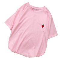 Wholesale harajuku bell resale online - T Shirt Women Cotton T shirt Harajuku Loose Casual Kawaii Strawberry Print Tops Tee Shirt Femme Streetwear Tumblr Korean