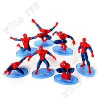 accesorios héroes maravilla al por mayor-7 unids / lote Marvel Spiderman Cake Decoration Spiderman Doll Juguete Super Hero Doll Modelo Decoración Accesorios al por mayor