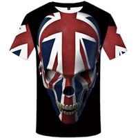 siyah kaya tişört toptan satış-Kafatası Tişörtlü Erkekler Siyah Anime Tişört Birleşik Krallık Gotik yazdır 3d Tişört Punk Rock Casual Hip Hop Erkek Giyim Giyim