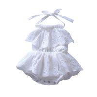 weiße rückenlose sommerkleider großhandel-Ärmelloses Kleid des Sommerbabykleidungsmädchens hohlen rückenfreien weißen Overalls des niedlichen Windhalses des Babys