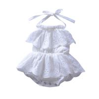 ingrosso jumpsuits bianco backless-Vestito sleeveless del collo del vento sveglio della neonata della tuta bianca vuota della ragazza di abbigliamento della neonata vuota della ragazza di abbigliamento