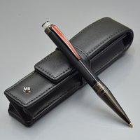 Wholesale pens leather resale online - Luxury Real Leather Case Top grade Star Waiker Urban Speed Black Resin and Metal Ballpoint pen Brushed surfaces With Serial Number MBHD2014