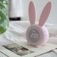 Wholesale cute electronics for sale - Group buy Cute Rabbit Alarm Clock Creative Led Digital Snooze Cartoon Electronic Clock Container Cooler MAY30 SH190924