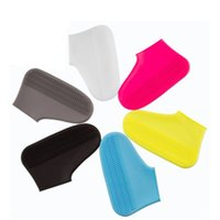 Wholesale volleyball shoes kids resale online - Soft Silicone Shoes Cover Solid Color Waterproof Elastic Shoe Sleeve Non Slipping Overshoe Boot Covers Adult Kid Wear Resistant bz E19