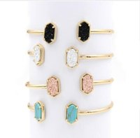 Wholesale blue stone bangles resale online - 2019 New Cute Oval Quartze Copper Bangles White and Blue green Stone Resin Druzy Cuff Bangles for Women